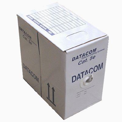 Síťový kabel UTP DATACOM cat.5e, 305m Síťový kabel, UTP, cat.5e, LSOH, drát, 305m, měděný, průřez 0,5mm, šedý, typ balení box 1105