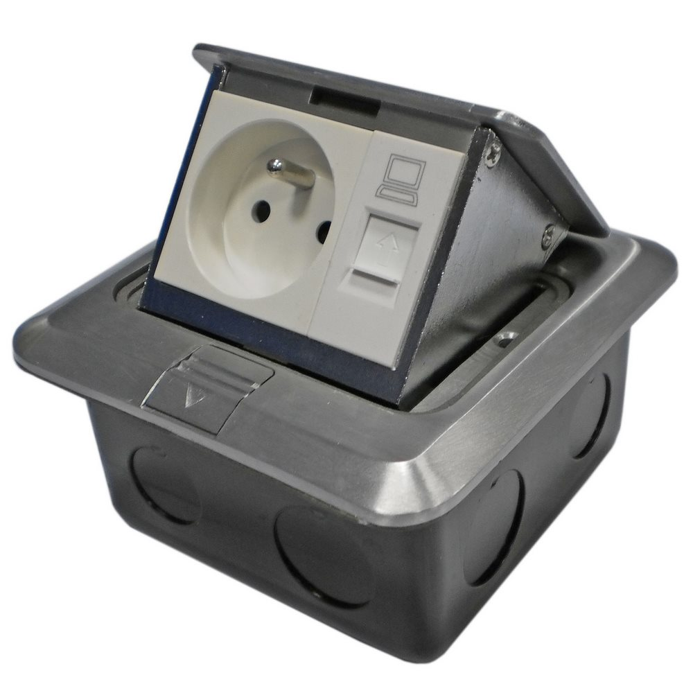 Datová zásuvka DATACOM UTP cat.5e Datová zásuvka, podlahová, UTP, cat.5e, 1xRJ45+1x230V, podlahová 2161