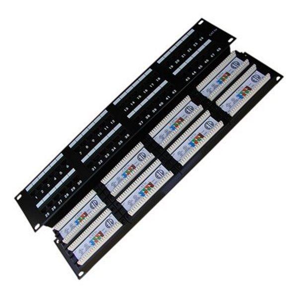 Patch panel DATACOM 19 UTP 48 portů cat.5e DUAL Patch panel, 19, UTP, 48 portů, cat.5e, 8x6p DUAL, 2U, černá 3003