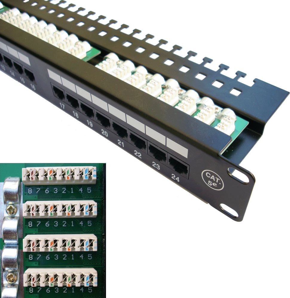 Patch panel DATACOM 19 UTP 24 portů cat.5e LSA Patch panel, 19, UTP, 24 portů, cat.5e, 3x8p LSA, 1U, vyvazovací lišta, černá 3033