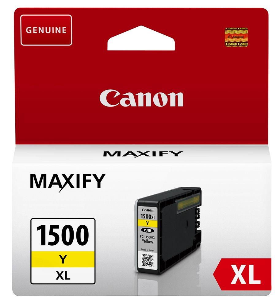 Inkoustová náplň Canon PGI-1500/XL žlutá Inkoustová náplň, kompatibilní s Canon MAXIFY MB2050 a MB2350, žlutá, 12 ml 9195B001