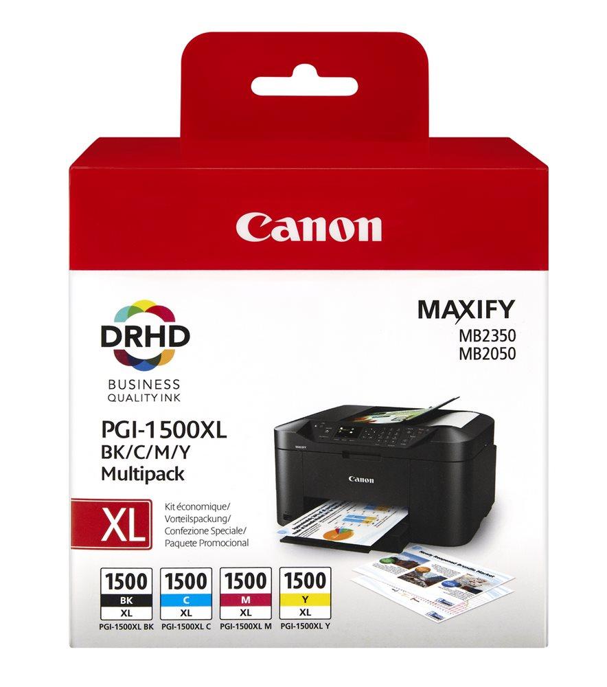 Inkoustová náplň Canon multipack PGI-1500/XL Inkoustová náplň, kompatibilní s Canon MAXIFY MB2050, MAXIFY MB2350, barevná C+M+Y+BK 9182B004