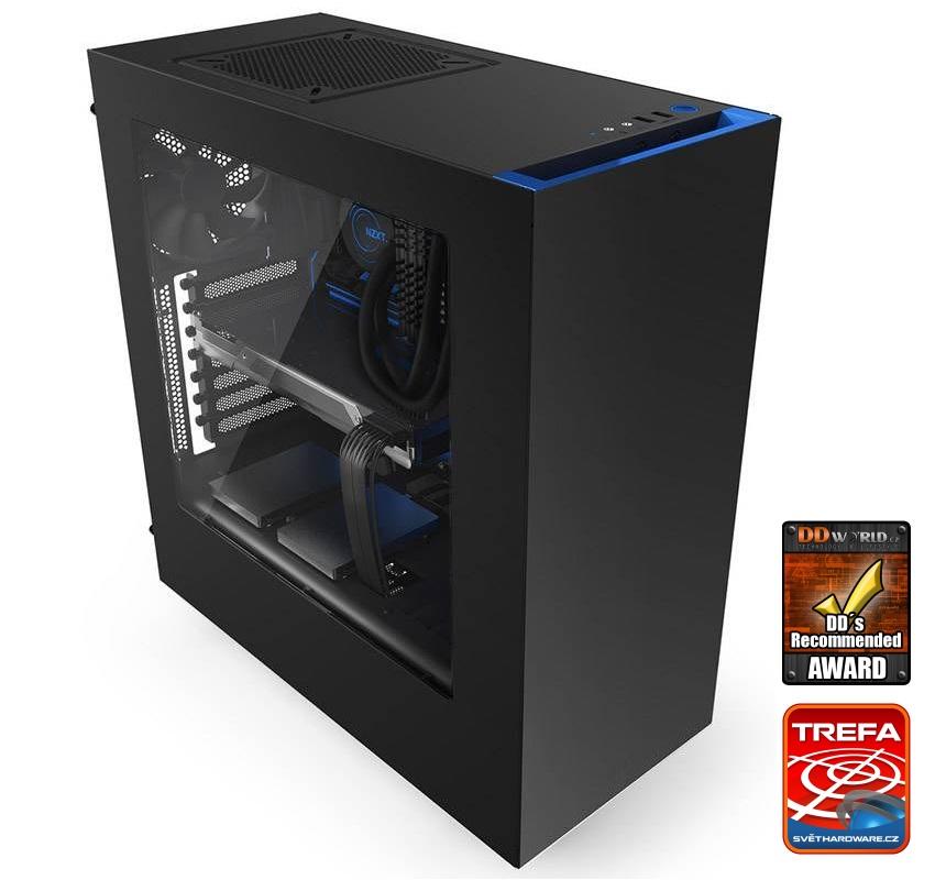 Skříň NZXT S340 černomodrá Skříň, Middle tower, bez zdroje, USB 3.0, ATX, černá s modrou