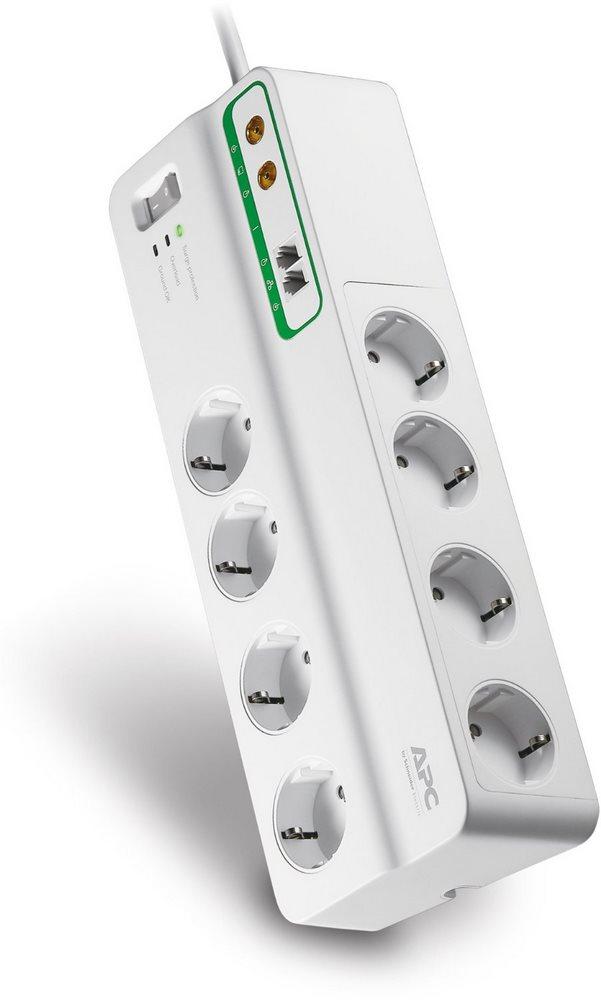 Přepěťová ochrana APC Performance PMF83VT-FR Přepěťová ochrana, 8 zásuvek, Francie/Belgie, datová linka, koaxialní kabel, 3 m, 230V/10A PMF83VT-FR