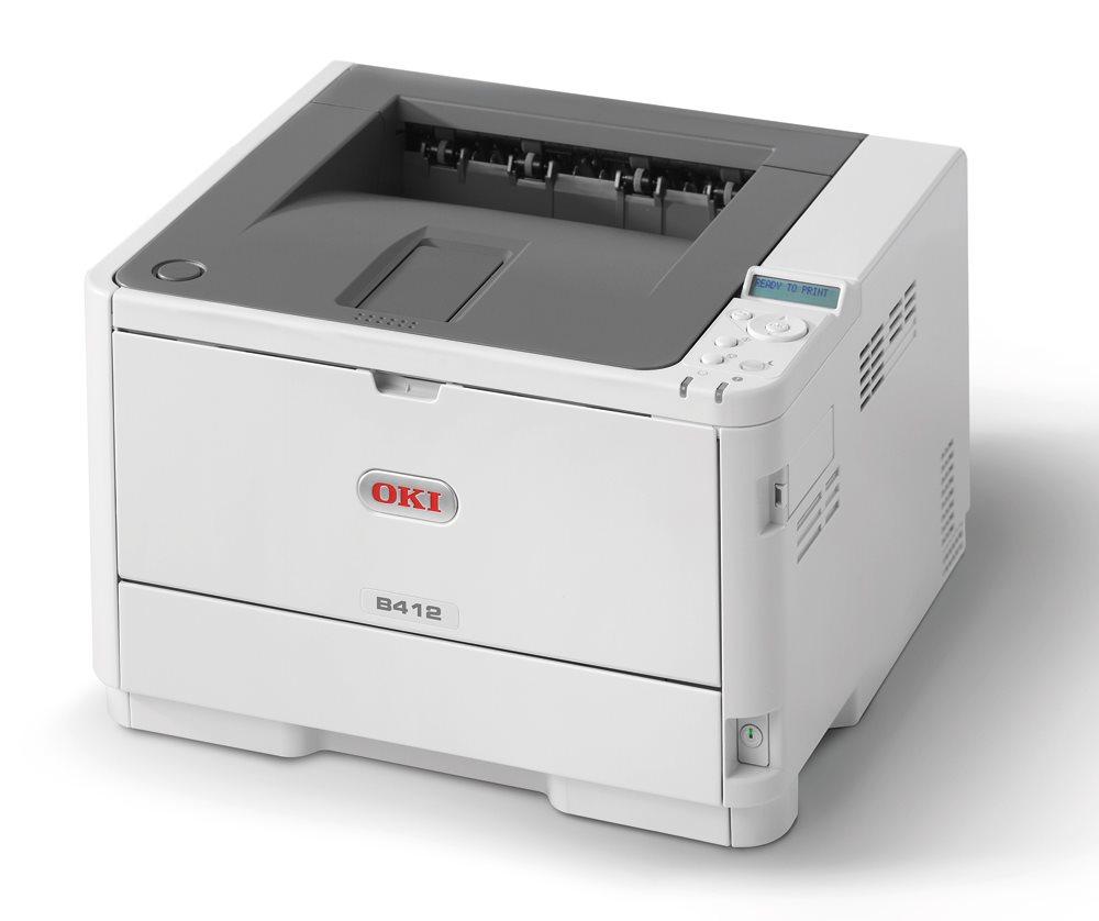 Laserová tiskárna OKI B412dn Černobílá laserová tiskárna, A4, 1200x1200, 33 str/min, USB 2.0, LAN,PCL6, duplex