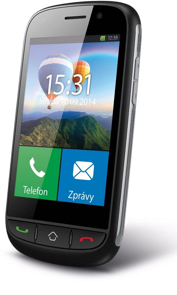 Mobilní telefon CPA HALO X Mobilní telefon, pro seniory, dotykový, 3.5 barevný display, bluetooth, FM rádio, 2Mpx, svítilna, černá TELMY1010BK
