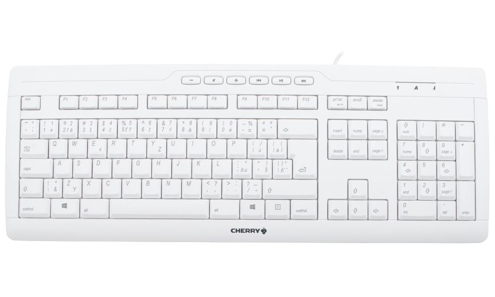 Klávesnice CHERRY STREAM 3.0 bílá Klávesnice, drátová, USB, bílá, CZ+SK