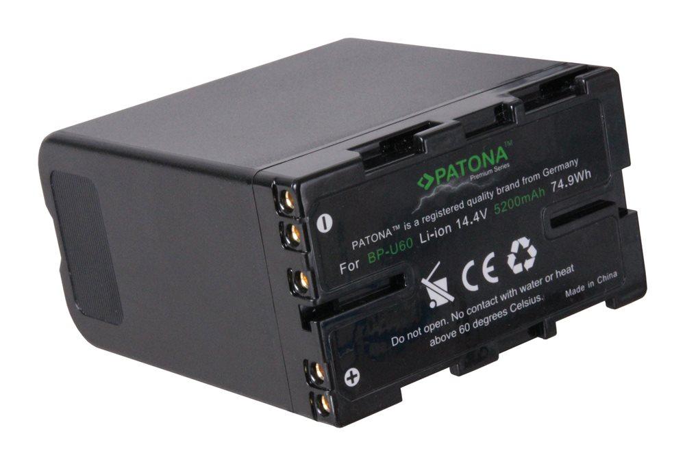Baterie PATONA pro videokameru SONY 5200 mAh Baterie pro videokameru, kompatibilní s BP-U30, BP-U60, BP-U90, BP-U95, 14.4 V, 74,9 Wh, 5200mAh, Li-Ion, pro Sony PMW-EX1, PMW-EX1r, PMW-EX3, PMW-F3 PT1242