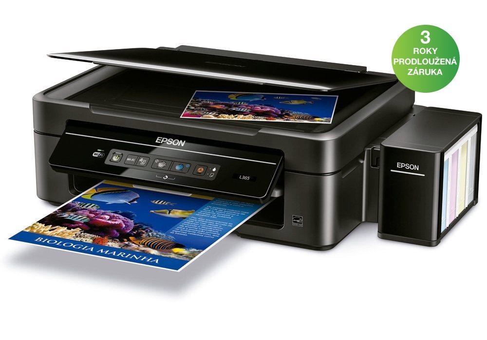Multifunkční tiskárna Epson L365 Barevná multifunkční inkoustová tiskárna, A4, 33/15ppm, 5760x1440, 4 barvy, print+scan+copy, USB, WiFi C11CE54401