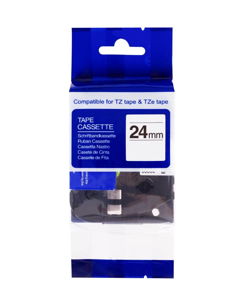 Páska PrintLine kompatibilní s Brother TZE-651 Páska, pro tiskárny štítků, kompatibilní s Brother TZE-651, TZ-651, 24 mm, černý tisk/žlutý podklad