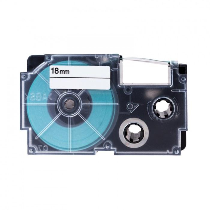 Páska PrintLine kompatibilní s Casio XR-18WE1 Páska, pro tiskárny štítků, kompatibilní s Casio XR-18WE1 18 mm, 8 m, černý tisk/bílý podklad