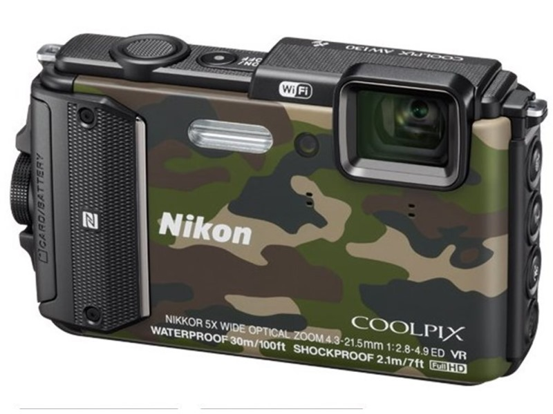 Digitální fotoaparát Nikon Coolpix AW130 Digitální fotoaparát, 16 MPix, 5x zoom, 3, Wi-Fi, NFC, camouflage VNA843E1