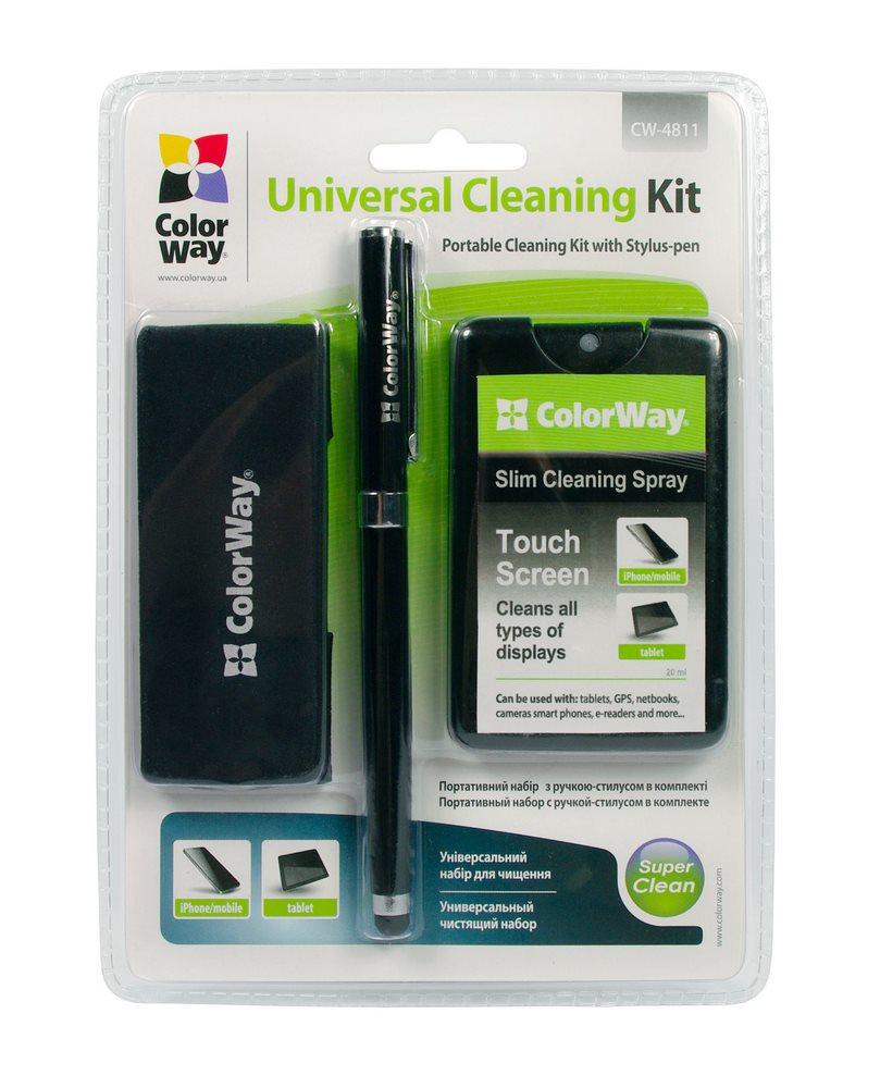 Čistící sada COLORWAY CW-4811 Čistící sada, pro mobily a tablety, 2v1, na dotykové obrazovky, s výměnou náplní + stylus CW-4811