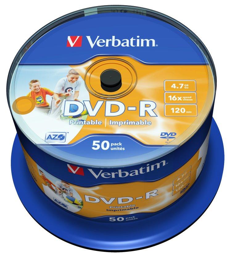 DVD médium VERBATIM DVD-R 4,7GB 50 ks DVD médium, DVD-R, 4,7GB 16x, 50-PACK, potisknutelné NON-ID, spindle 43533