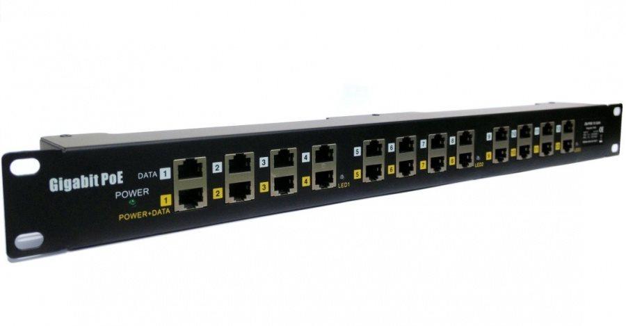 Patch panel 19 MaxLink STP 12 portů cat.5e Patch panel, POE, STP cat.5e 12 GE portů, 1U, černý provedení 19 rack POE-PAN12-G