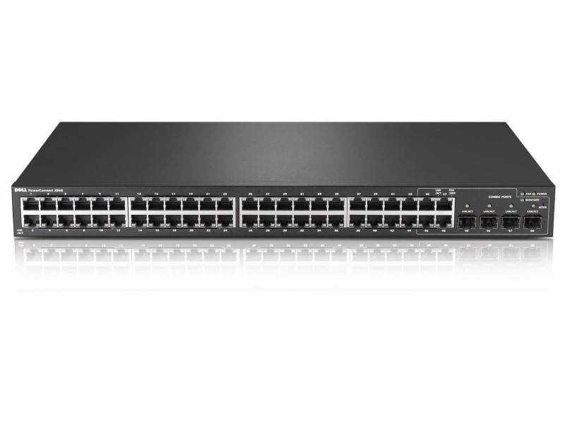 Switch DELL PowerConnect 2848 Switch, gigabit, 48x 10/100/1000 port + 4x Combo, Web management, 3YNBD on-site 210-27778