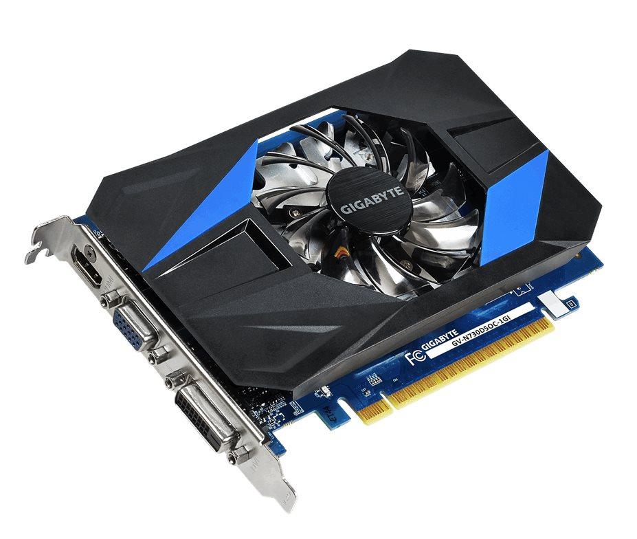Grafická karta GIGABYTE nVIDIA GT730 1GB Grafická karta, PCI-E, 1GB DDR5, HDMI, DVI, D-SUB, active Overclock GV-N730D5OC-1GI
