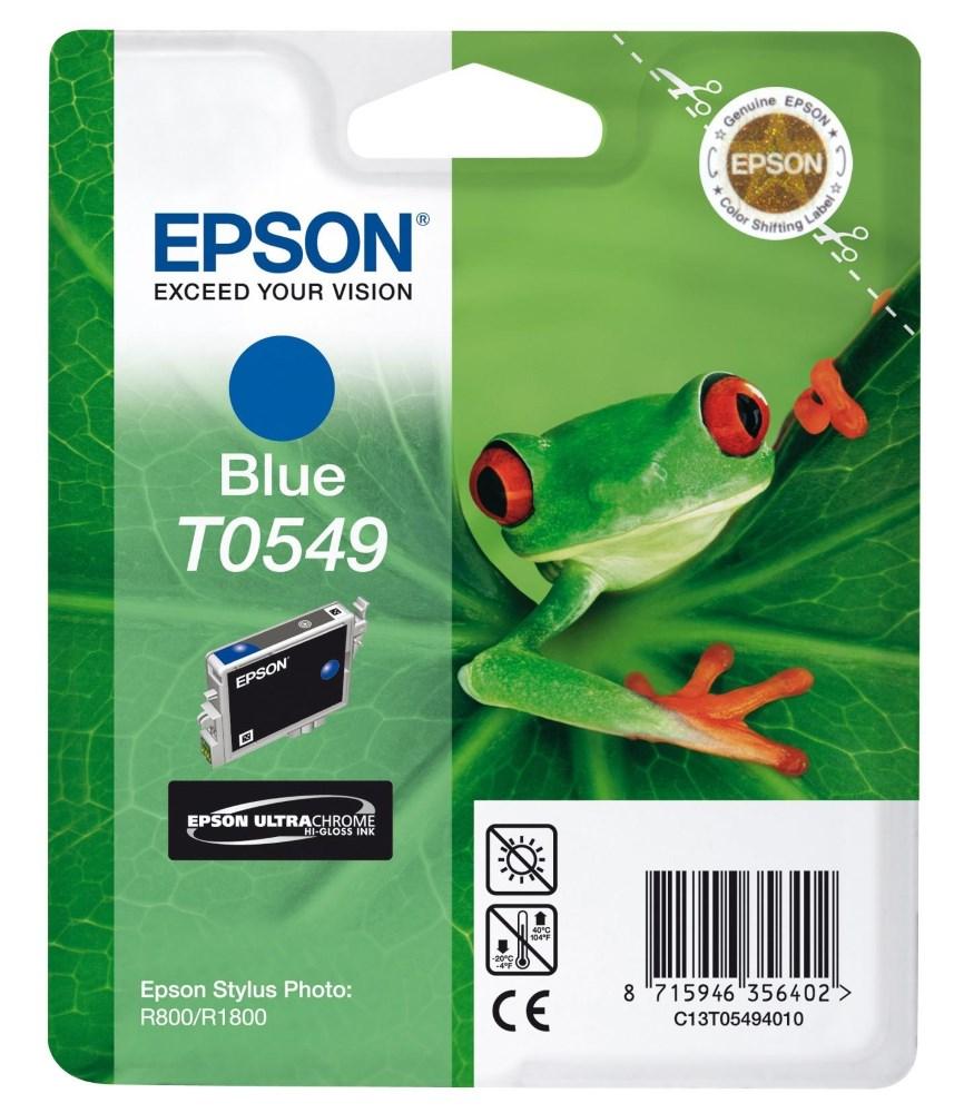Inkoustová náplň Epson T0542 modrá Inkoustová náplň, originální, pro Epson Stylus R800, R1800, modrá C13T05494010