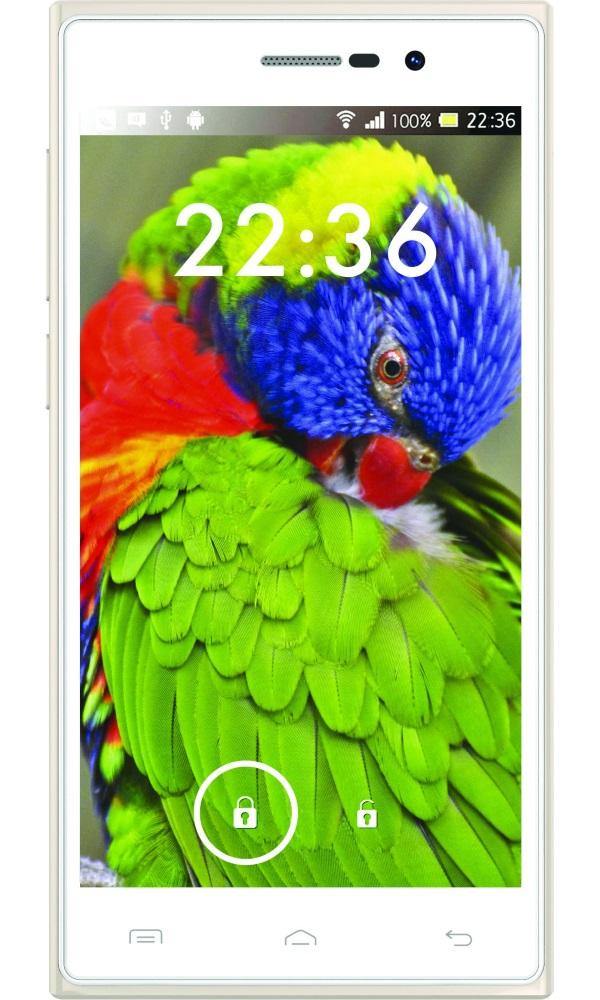"""Mobilní telefon iGET Arrow Gold Mobilní telefon, Dual SIM, Octa core 1,7GHz, 2GB RAM, 16GB, 3G, 5,0"""" IPS, 16MPx+8MPx, GPS, OGS, OTG, Android 4.4.2, bílý"""