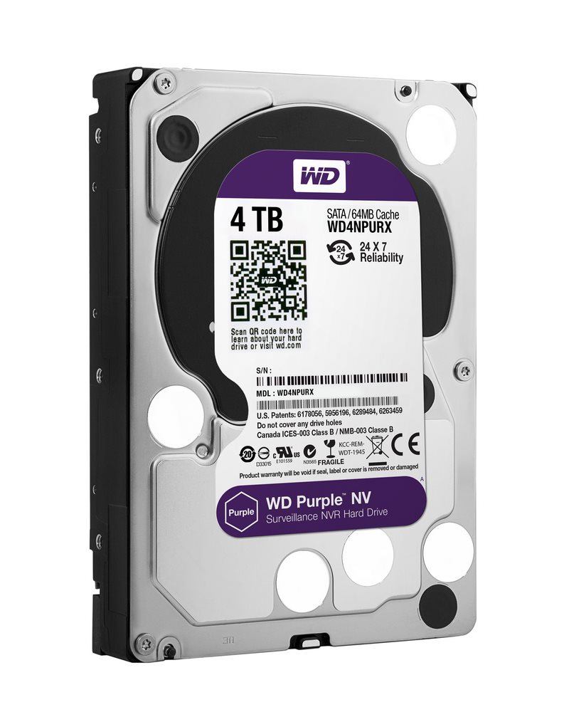 Pevný disk WD PURPLE NV 4TB Pevný disk, WD4NPURX, SATA600, Interní 3.5, IntelliPower, 64MB WD4NPURX