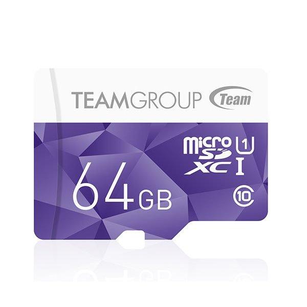 Paměťová karta TEAM 64GB-XC Micro SDXC Paměťová karta, 64GB, Micro SDXC, UHS-1, fialová TCUSDX64GUHS41