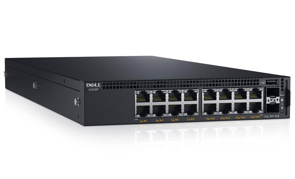 Switch DELL Networking X1018P Switch, gigabit, 16x 10/100/1000 POE port, 2x SFP 1Gb, Web smart management, NBD on-site 210-AEIL
