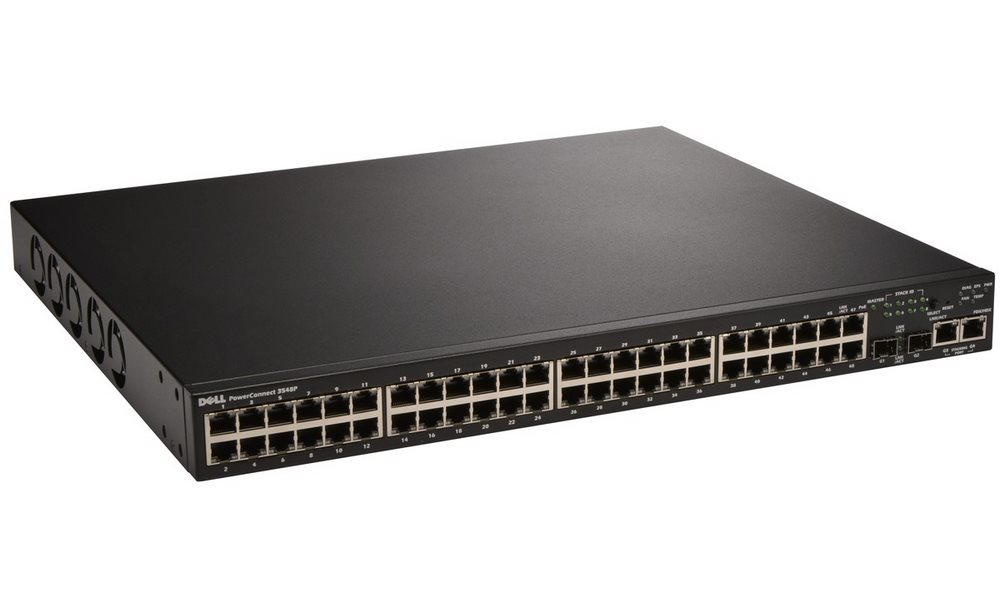 Switch DELL PowerConnect 3548P Switch, 48x POE 10/100 Baset-T+ 2x SFP Combo GbE, Web management, YNBD on-site 210-19771