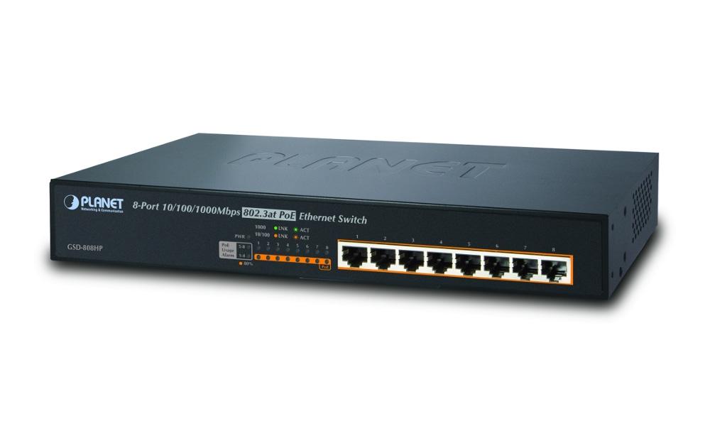 Switch PLANET GSD-808HP Switch, 8 x 10/100/1000 PoE + 130W, kov, 13 GSD-808HP