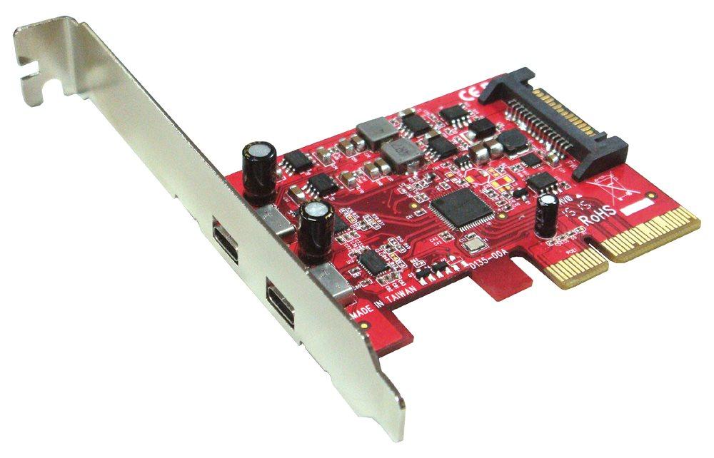 Řadič Kouwell UB-135 Řadič, PCI-E karta, 2x USB3.1 C port, včetně Low profille UB-135
