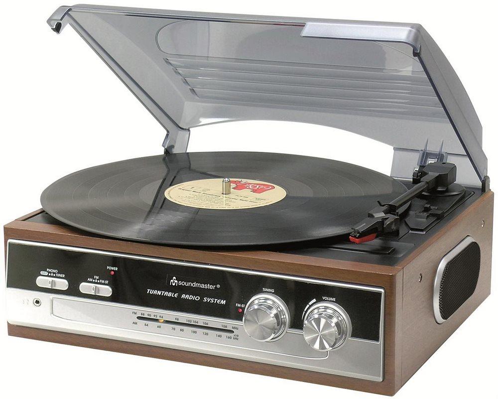 Gramofon Soundmaster PL186H s gramofonem Gramofon, AM/FM/FM-ST radio, retro design PL186H