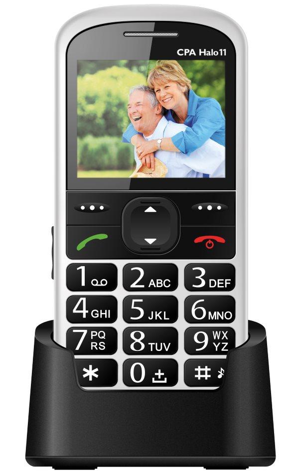 Mobilní telefon pro seniory CPA HALO 11 bílý Mobilní telefon, pro seniory, 2.4 barevný display, SOS tlačítko, vestavěná svítilna, FM rádio, bílý TELMY1011WH