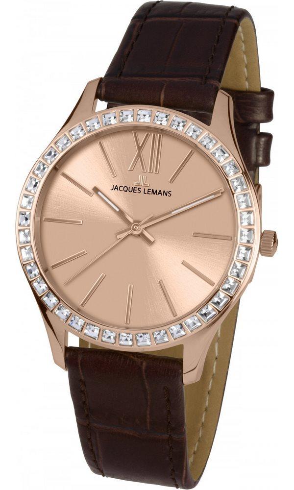 Analogové hodinky Jacques Lemans Rome 1-1841D Analogové hodinky, módní, dámské, vodotěsné, kožený řemínek 1-1841D