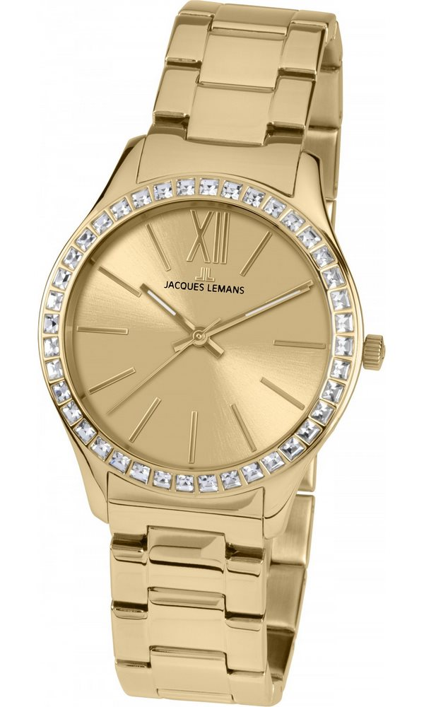 Analogové hodinky Jacques Lemans Rome 1-1841G Analogové hodinky, módní, dámské, vodotěsné, ocelový řemínek 1-1841G