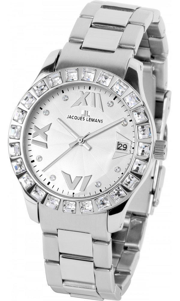 Analogové hodinky Jacques Lemans Rome 1-1517B Analogové hodinky, módní, dámské, vodotěsné, ocelový řemínek 1-1517B