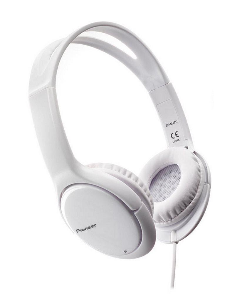 Sluchátka PIONEER SE-MJ711-W Sluchátka, náhlavní, uzavřená, 10Hz-25kHz, 32ohm, 1000mW, 102dB, 115g, měnič 40mm, kabel 1.2m, bílá SE-MJ711-W