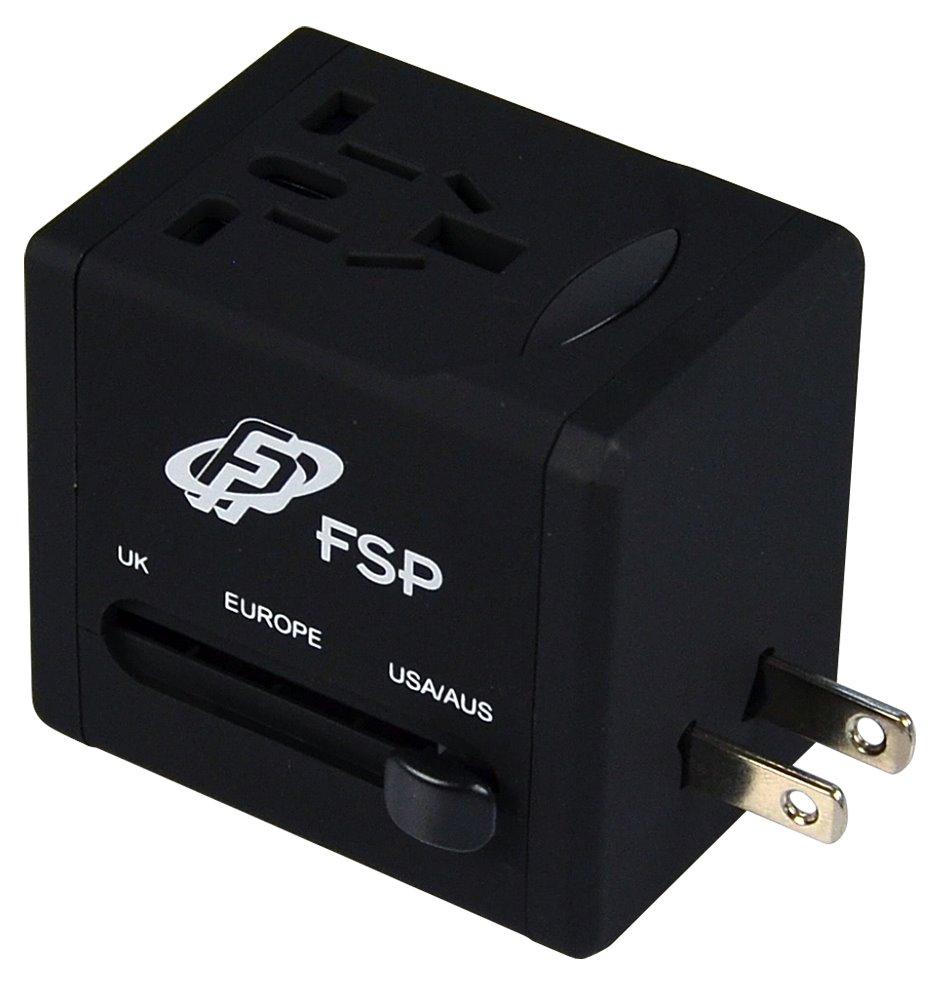 Univerzální cestovní adaptér FORTRON NT580 černý Univerzální cestovní adaptér UK / US / AUS / EU, 4 univerzální zástrčky, černý FSPNT580BK