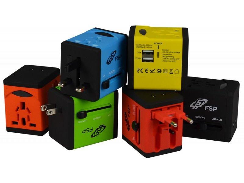 Univerzální cestovní adaptér FORTRON NT580 žlutý Univerzální cestovní adaptér UK / US / AUS / EU, 4 univerzální zástrčky, žlutý FSPNT580YL
