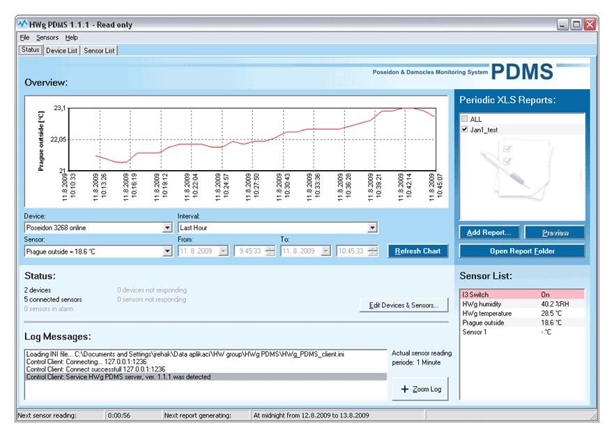 Monitorovací software HWg HWg-PDMS 8 Monitorovací software, s grafy a MS Excel výstupem, max. 8 senzorů