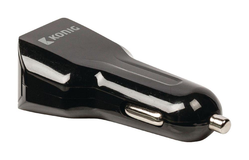 Napájecí adaptér KÖNIG 2 x USB Napájecí adaptér, do auta, 2x USB/ 1A a 2,1A/ pro telefony, tablety, černý CS31UC001BL