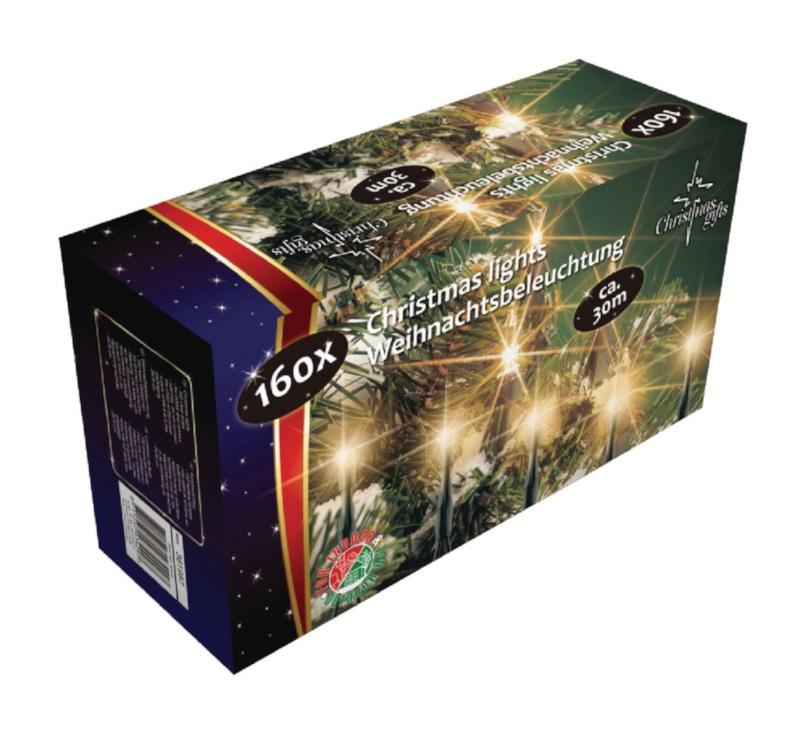 Světelný řetěz GETX 160 žárovek Světlený řetěz, vánoční, 160 žárovek, venkovní, bílé světlo, 30m ED-93429