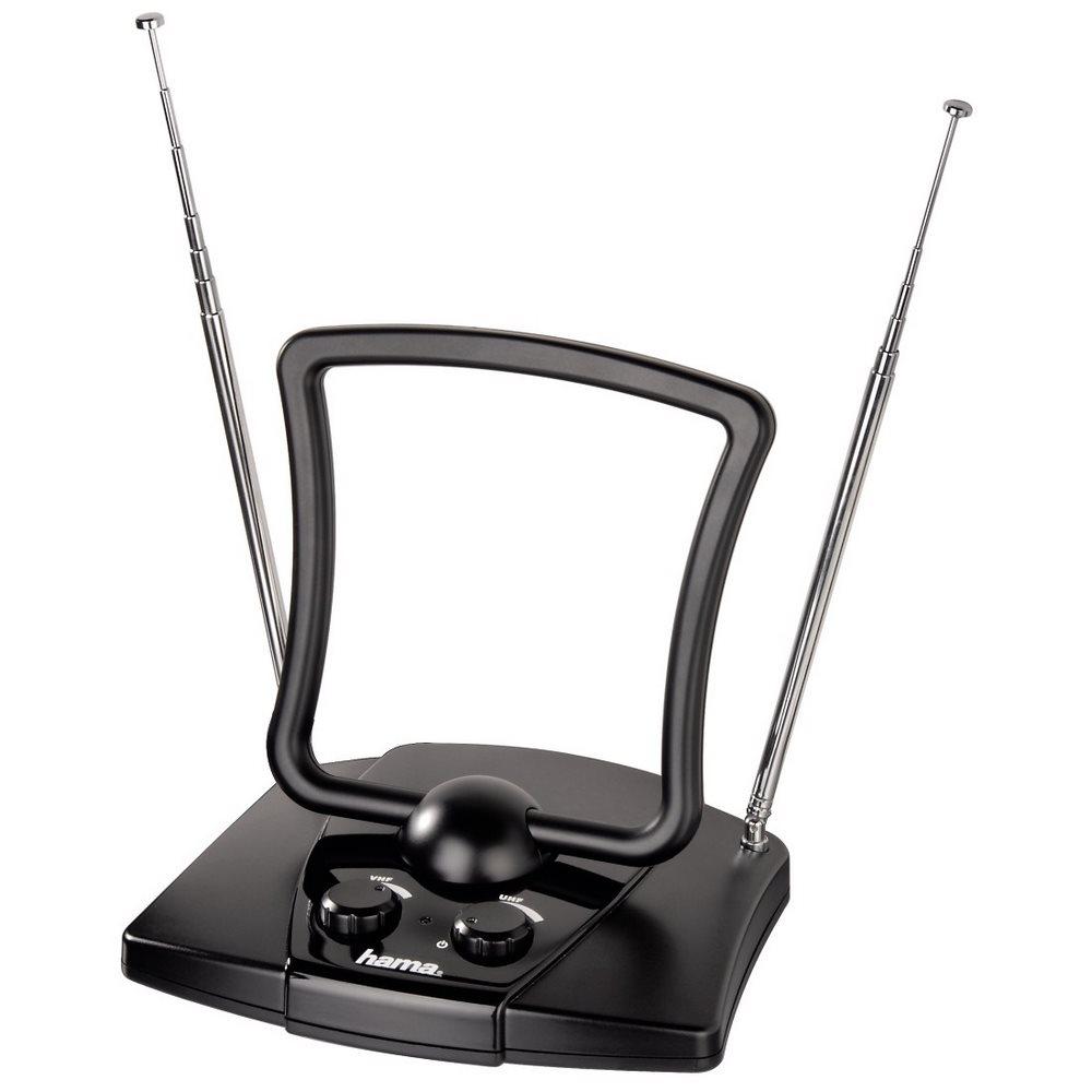 DVB-T anténa HAMA UHF/VHF/FM 44db DVB-T anténa, pokojová, aktivní, UHF/VHF/FM, 44dB, 30 až 950 MHz, 2 zesilovače, černá 44269