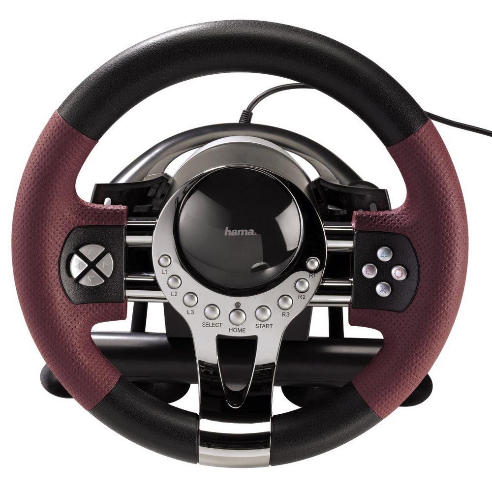 Volant HAMA Thunder V5 Volant, pedály, pro PC, PS3, USB, černá-červená, kovová 51845