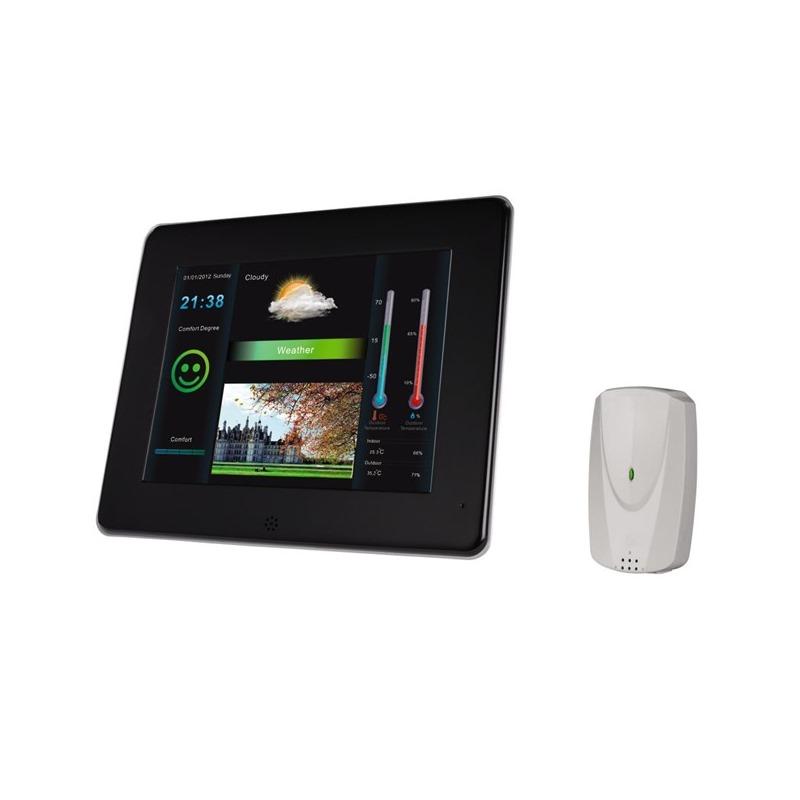 Digitální fotorámeček HAMA Slim 8 Digitální fotorámeček, LED, 20,3 cm 8, 4:3, SD/SDHC/MMC, s meteostanicí, černo-stříbrný 95265