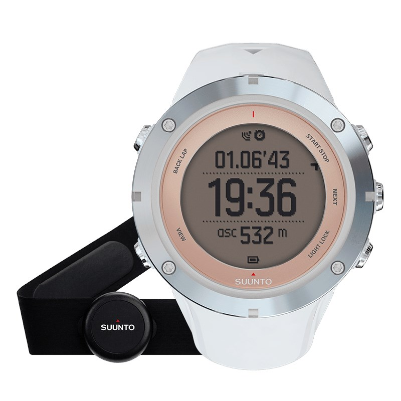 Sportovní hodinky Suunto Ambit3 Sport HR bílé Sportovní hodinky, senzor srdečního tepu, safírové sklo, funkce stopky, osvětlení, tréninkové funkce, alarm, GPS, bílá barva SS020672000