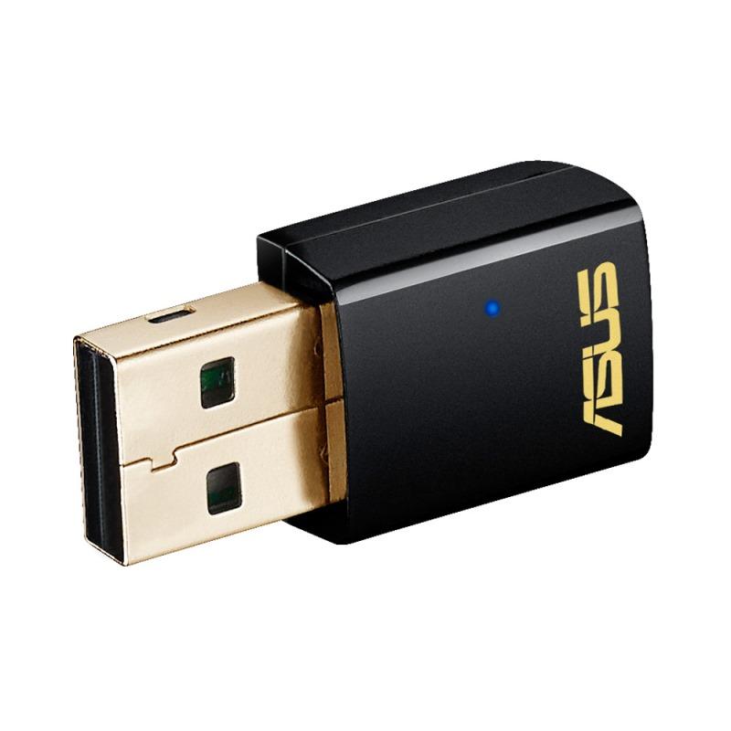 Adaptér ASUS USB-AC51 Adaptér, síťový, USB2.0, 802.11ac/a/b/g/n, 2,4Ghz/5Ghz dualband 90IG00I0-BM0G00