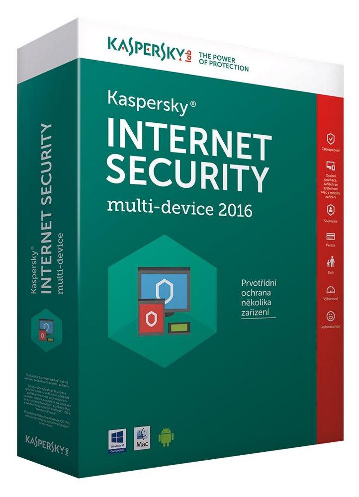 Antivir Kaspersky Internet Security MD 2016 CZ Antivirový software, 2 PC, 1 rok, nová licence, box KL1941OBBFS-6MCZ