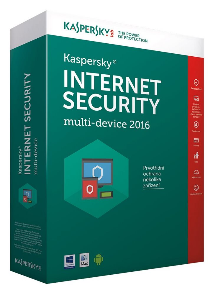 Antivir Kaspersky Internet Security MD 2016 CZ Antivirový software, 2 PC, 1 rok, obnovení licence, box KL1941OBBFR-6MCZ