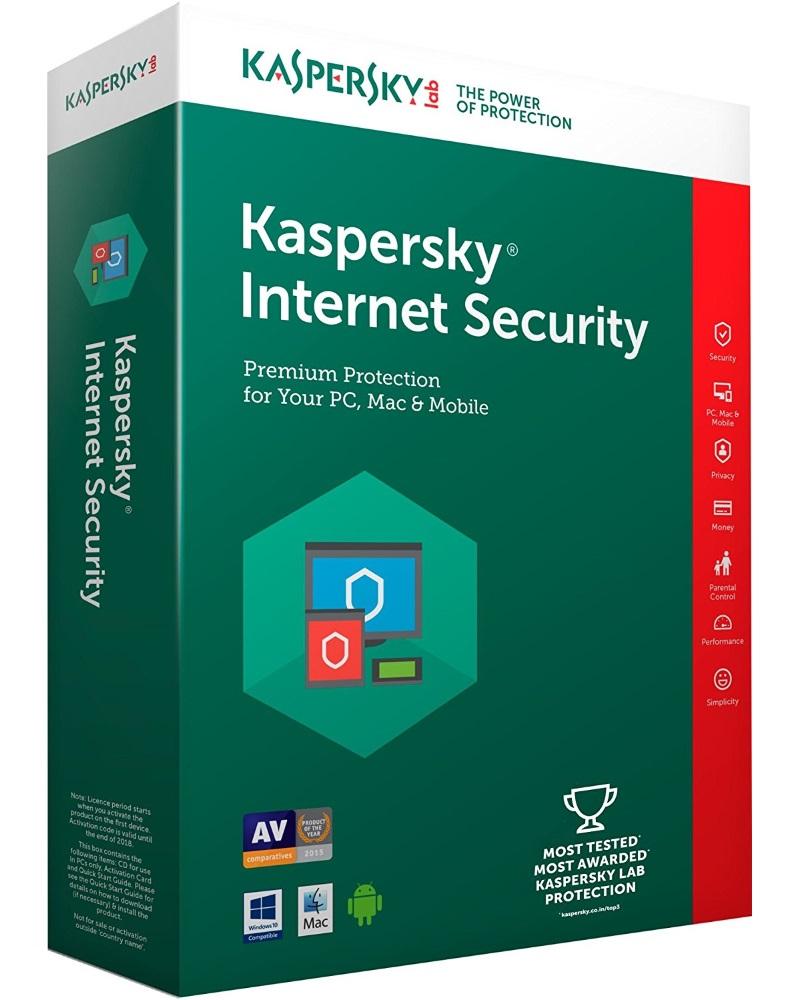 Antivir Kaspersky Internet Security MD 2016 CZ Antivirový software, 3 PC, 1 rok, obnovení licence, elektronicky KL1941OCCFR
