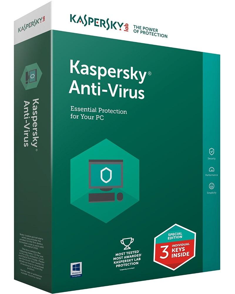 Antivir Kaspersky Anti-Virus 2016 CZ Antivirový software, 3 PC, 1 rok, obnovení licence, elektronicky KL1167OCCFR