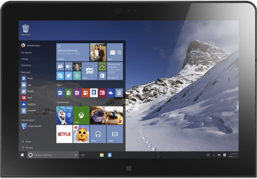 Tablet Lenovo ThinkPad 10 Tablet, x7-Z8700, 4GB, 128GB, 10,1 WUXGA 16:10 IPS, LTE, W10P 64bit, 1yCarryIn 20E30013MC